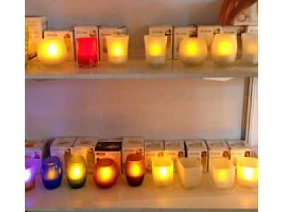 Tealight led candle with glass cup holder