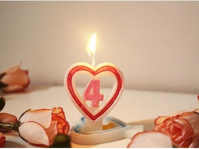 Heart shape with number birthday candle